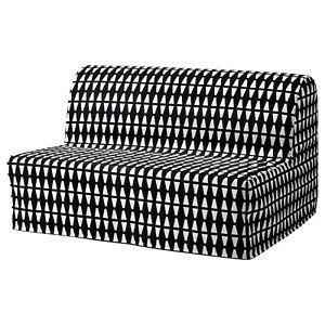 NEW IKEA LYCKSELE Sleeper Sofa Slipcover Ebbarp Black White Geometric Mod Cover