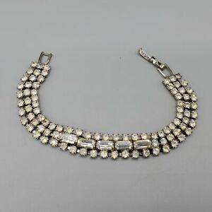 "1950s 3 Row Clear Prong Set Baguette Accent Rhinestone Rhodium Plate Bracelet 7"""