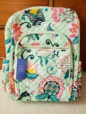 NWT Vera Bradley Iconic Campus Backpack in Mint flowers 22597-N33
