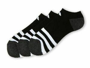 3 Pair Adidas No Show Cushioned Socks, Men's Shoe 6-12, Black, Ankle, L29