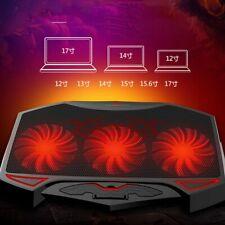 "BASE REFRIGERADOR PORTATIL SOPORTE 3 VENTILADOR LED PUERTO USB 12-17"""