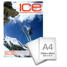 ICE brillant Traité A4 AUTOCOLLANT jet d'encre Papier photo 130gsm - 25 Sheets