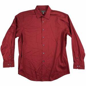 Alfani Mens Regular Fit Solid Dress Shirt Maroon 16-16.5 34/35