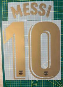 FLOCAGE Messi #10 Home Barcelona Gold 2020-2021 Nameset.