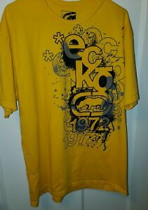 Ecko Unlimited MensT Shirt XL Yellow Black Graphic Abstract