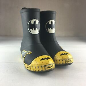 Boys Crocs Junior Size J1 Batman Black Yellow Rain Boots 8""