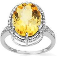 10K WHITE GOLD 4.21 CTW CITRINE & DIAMONDS COCKTAIL RING SIZE N / 7