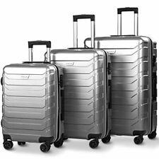 Costway 3PCS Luggage Set Expandable ABS Durable Suitcase w/Wheels TSA Lock Gray