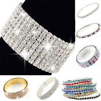 Bling Crystal Diamante Rhinestone Elastic Bridal Bracelet MultiRows Women Bangle