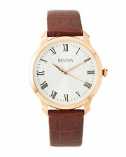 Bulova 97A107 Men's Gold-Tone Stainless Steel Brown Leather Strap Dress Watch