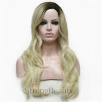 Long Wavy Wigs Curly Women Wig Blonde Ombre Gold Wigs Natural Party Wigs Fashion