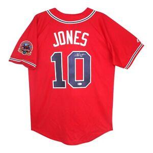 Chipper Jones signed 2006 Atlanta Braves 40th Anniversary Alt Red Jersey BECKETT