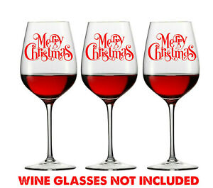6 X MERRY CHRISTMAS WINE GLASS DECALS LOGO WINDOW XMAS other colours available