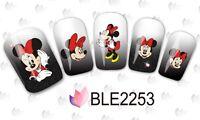 Arte Unghie Acqua Adesivi Decalcomanie ROSSO Mickey Mouse Minnie Nodi (2253)
