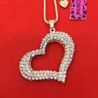 Betsey Johnson Crystal Rhinestone Love Heart Pendant Sweater Chain Necklace