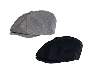 Peaky Blinders Style Linen Mix Cap Navy and Check 8 piece Button Cap Clearance