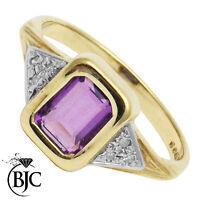 BJC® 9ct Yellow gold Amethyst & Diamond Emerald Shape Solitiare ring R272