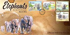 Botswana 2016 FDC Elephants 4v Set Cover Wild Animals Stamps