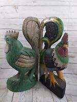 """Set Of 2 Three Hands Corp 20"""" Rooster Hand Carved Wood & Painted Figurine"""