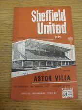 18/03/1967 Sheffield United V ASTON VILLA (pin hole, punteggio sulla parte anteriore). grazie fo