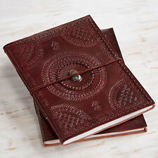 Indra Handmade XL Embossed Stitched Stoned Leather Photo Album Scrapbook