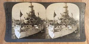 U.S. Battleship Massachusetts, Forward Batteries –William H. Rau – Stereoview