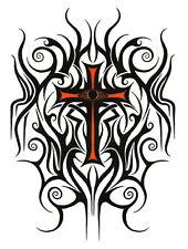 Tribal Cross Large Temporary Tattoo