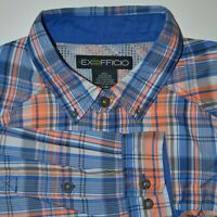 ExOfficio Packable Lightweight Vented Twill Shirt Size Large Plaid