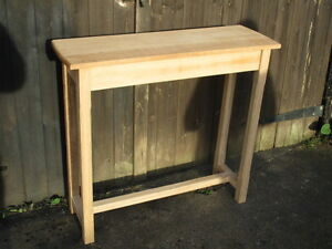 BESPOKE H89 W81 D30cm SOLID OAK CONSOLE HALL TABLE With Shelf