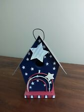 DECORATIVE BIRDHOUSE Hanging American Flag Patriotic Bird House Wood Tin Roof