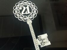 21ST BIRTHDAYGOOD LUCK KEY 15cm LENGTH*SILVER COLOUR