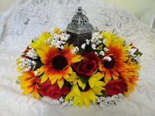Sunflowers And Red Roses Tabletop Centerpiece,Lighted