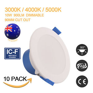 10X LED DOWNLIGHT KIT TRI-COLOR DIMMABLE 10W 900LM RECESSED DAY LIGHT CCT 90MM