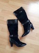 Scholl Leather suede high Boots Size uk8 EUR 41 vgc
