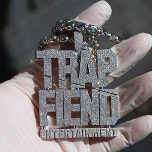 """TRAP FIEND ENTERTAINMENT"" Men's Hip-Hop Pendant With Clear CZ In 925 Silver"