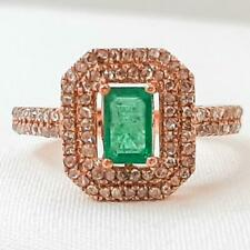 Genuine 1.46ctw Columbian Emerald & H-SI Diamond 14K Rose Gold Ring Size 7 4.1g