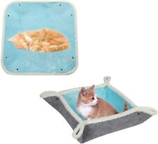 Washable Cozy Furry Cat Kitty Mat Felt 4-in-1 Feline Cave Self-Warming Cat Bed