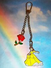 PRINCESS BELLE & ENCHANTED RED ROSE KEYRING HANDBAG CHARM BEAUTY AND THE BEAST