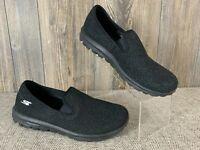 "Sketchers ""Go Walk"" Shoes Flats Women's 10 Black/Silver Metallic Textile Uppers"