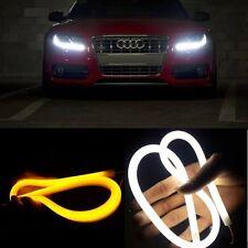 2x 60cm White/Amber Switchback Tube LED Strip Lights For Headlight DRL & Signal