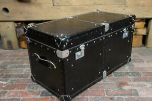 Handmade English Black Leather & Chrome Chest Coffee Table Trunk