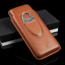 Brown Leather 3 Ct Cigar Case Holder w/ Cutter Fits Any Size Cigar