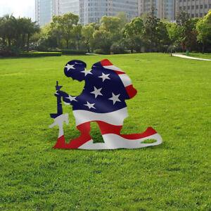 American Flag Kneeling Soldier Weathered Flag Garden Yard Outdoor Art Deco