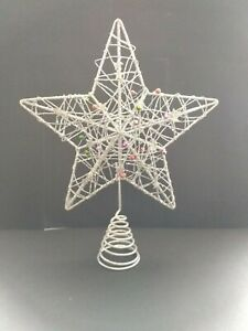 SILVER FIVE POINTED STAR, CHRISTMAS TREE TOPPER LED  ( ref B3 )