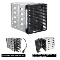 Hard Drive Caddy Cage Rack 5.25'' to 5x 3.5'' SATA HDD Bracket Enclosure
