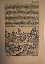 Phantasieansicht ÖSTERREICH, Schedel Weltchronik 1493, s/w Holzschnitt CCLXXVIII