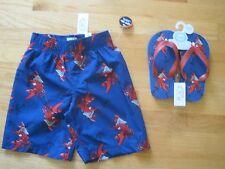 Boy RED PIRATE LOBSTERS DARK NAVY BLUE swim trunks & flip flops set NWT 5 6