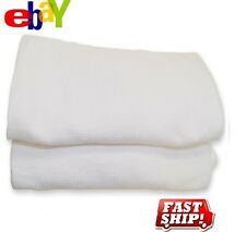 3 NEW WHITE HOSPITAL THERMAL SNAGFREE 100% COTTON BLANKET TWIN SIZE 66X90 3#
