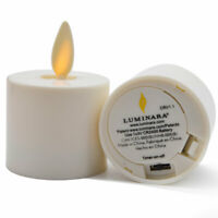 2PCS Luminara Tea Lights Ivory Unscented Moving Flame Candles With Timer Remote