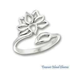 Lotus Flower Wrap Adjustable .925 Solid Sterling Silver Ring Size 6, 7, 8, 9